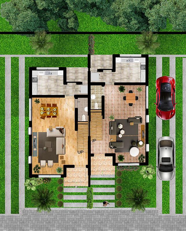 groundfloor layout - 2 bedroom semi-detached