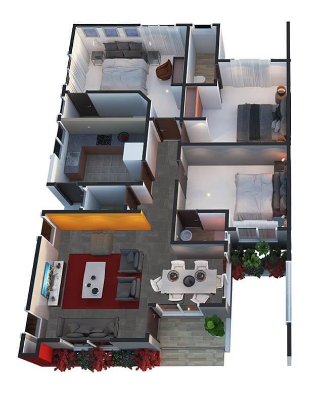 04 bedroom detached half ground floor